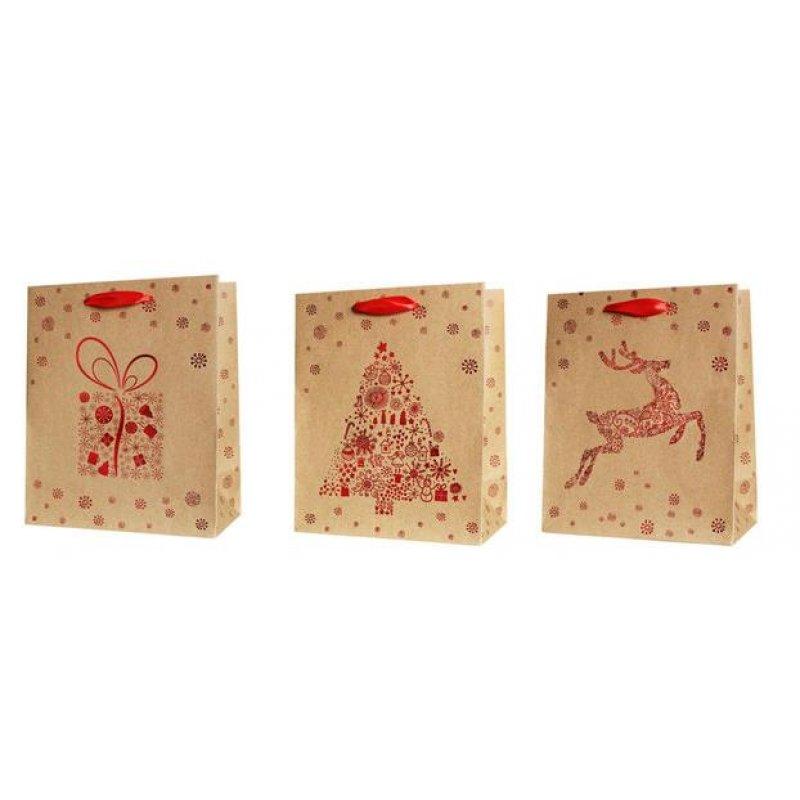 geschenktasche weihnachten natur rot mittel 1ve 12 st. Black Bedroom Furniture Sets. Home Design Ideas